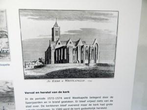 Zeichnung der Kirche von Westkapelle im 18. Jahrhundert