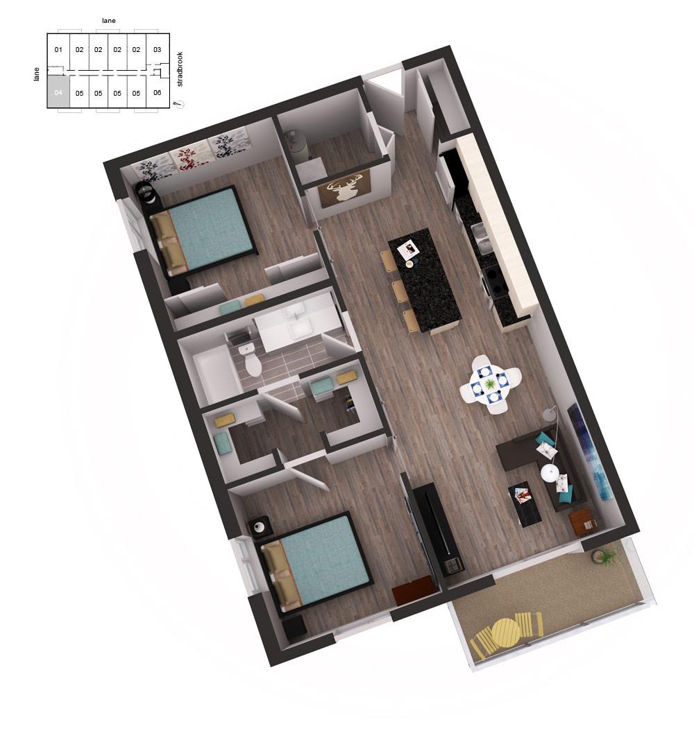 3D Floor Plan Unit 41