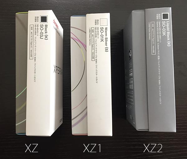 XZ2のパッケージを並べた側面