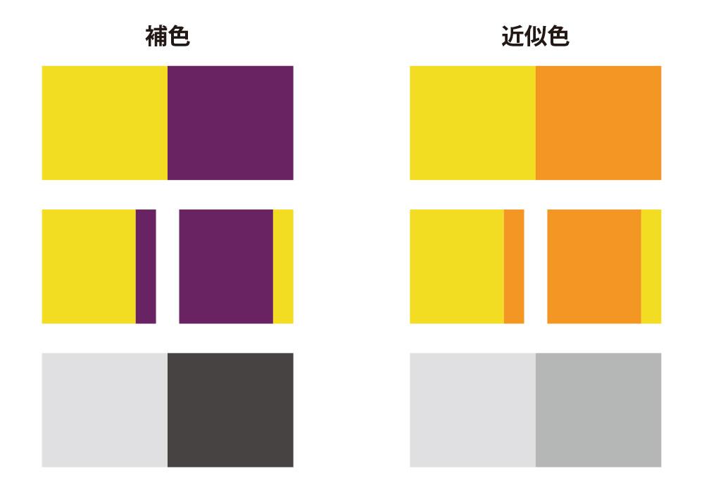 明るさが違う色相の補色と近似色