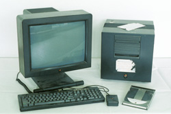The historic NeXT computer used by Tim Berners-Lee in 1990, on display in the Microcosm exhibition at CERN. It was the first web server, hypermedia browser and web editor.