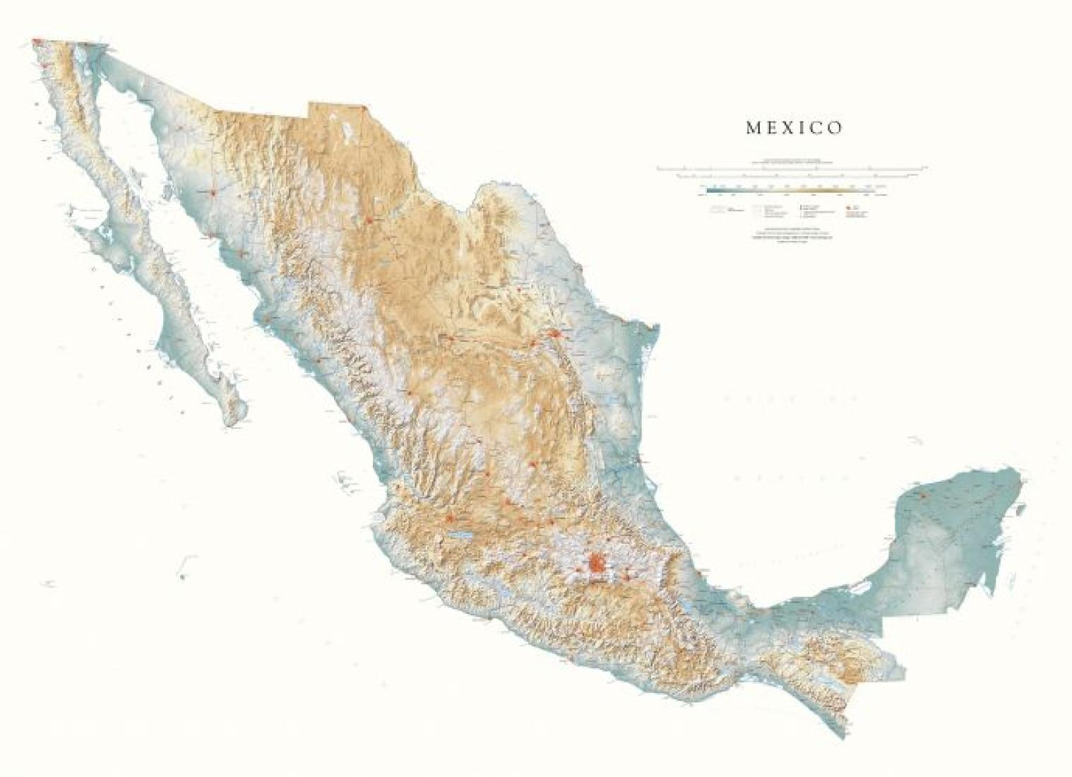 Mexico Physical Wall Map By Raven Maps