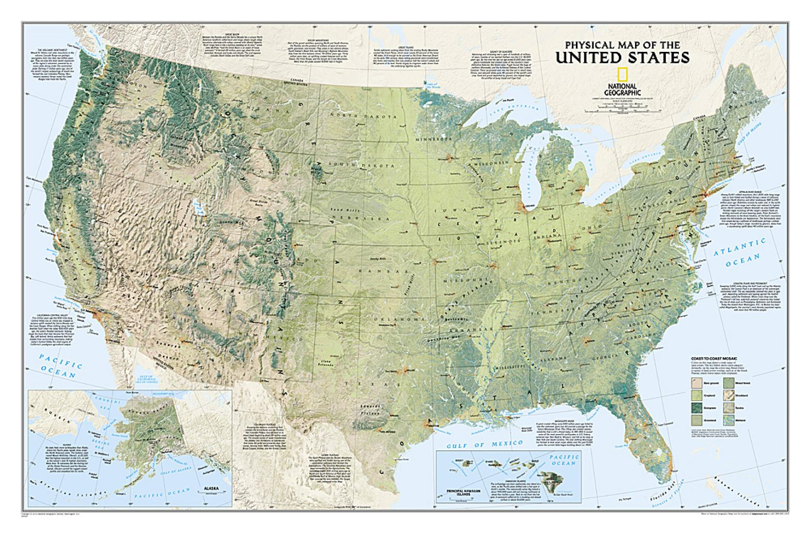 United States Physical Wall Map 38 25 X 25 25 Inches By