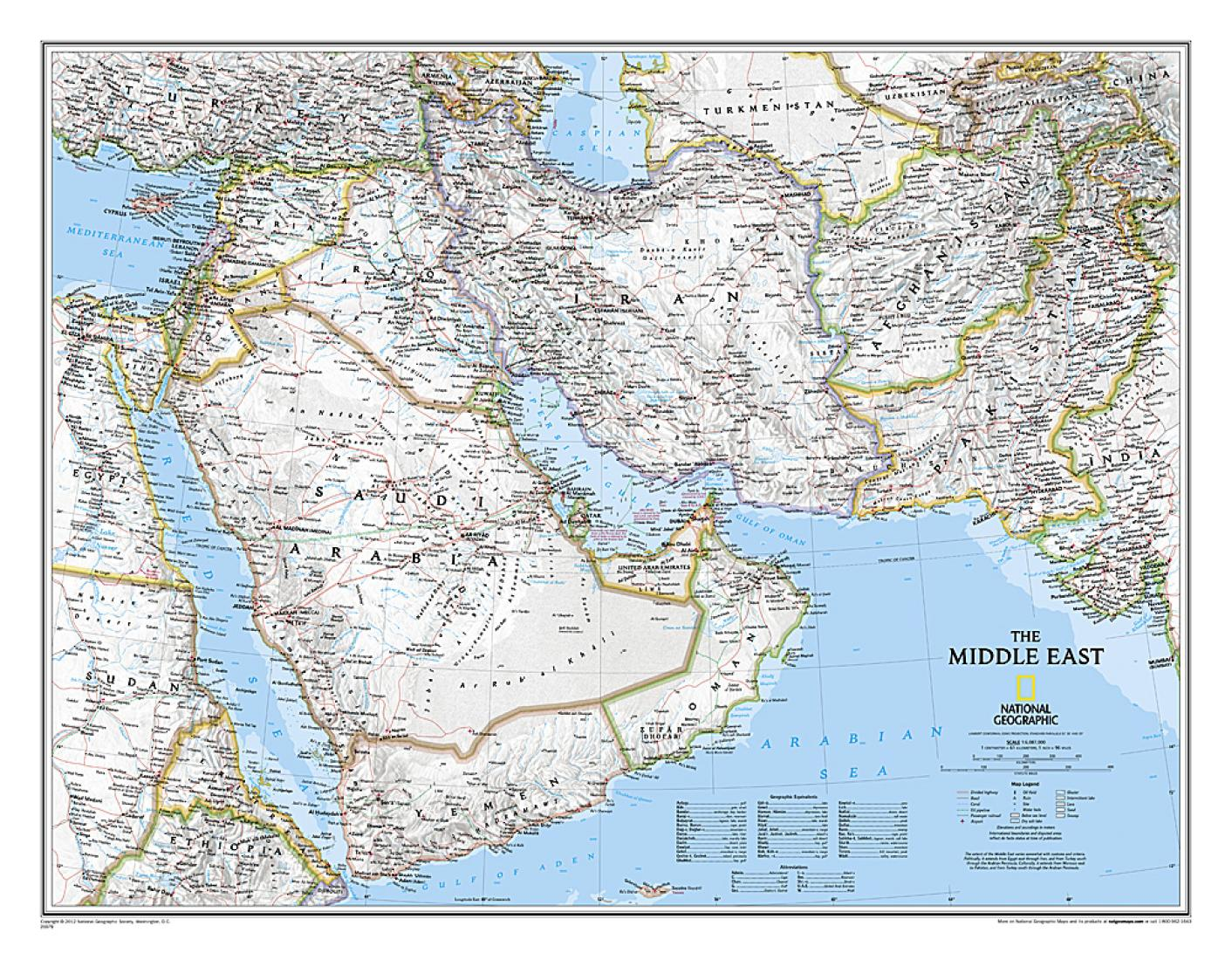 Middle East Sleeved By National Geographic Maps