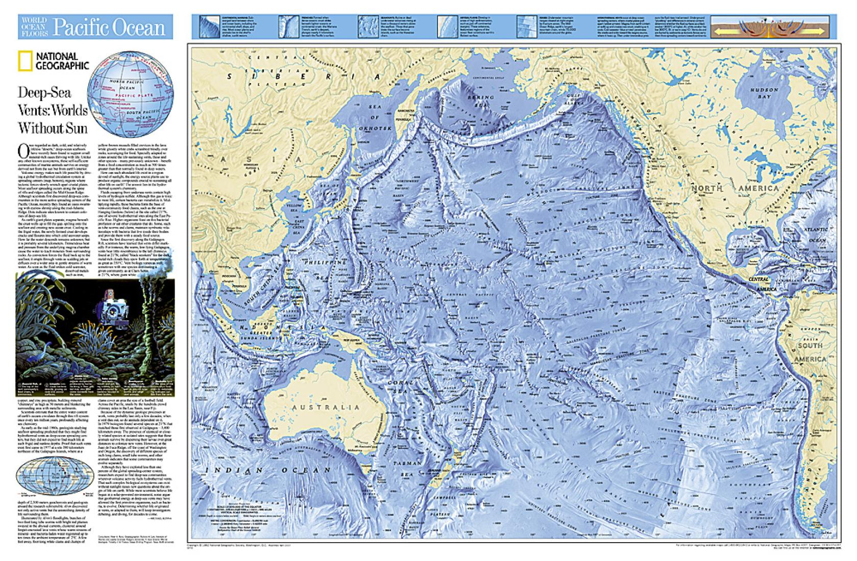 World Ocean Floor Pacific Tubed By National Geographic Maps