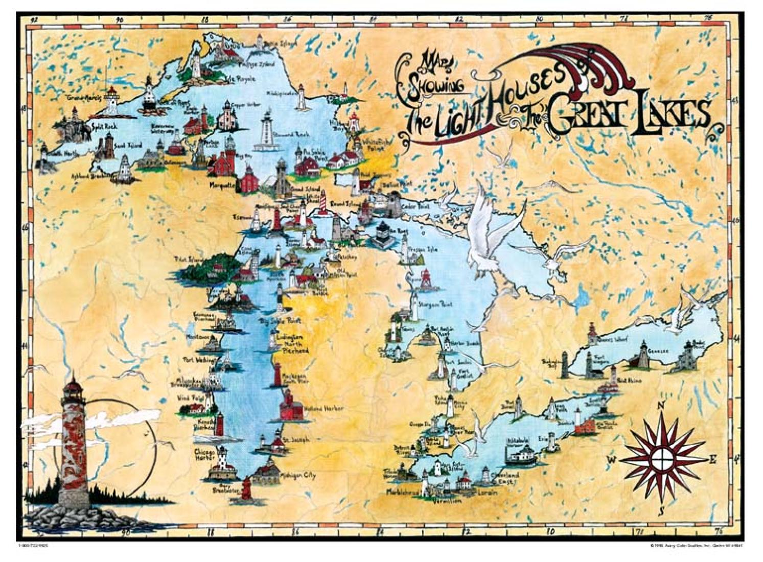 Great Lakes Lighthouse Map By Avery Color Studios