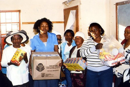 Receiving parcels with food and clothes for the support group