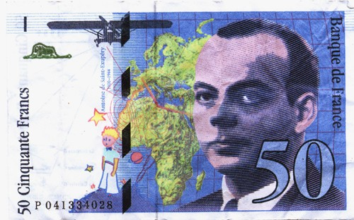 money-antoine-de-saint-exupery-50-francs-note-the-little-prince-author-fighter-pilot-national-hero