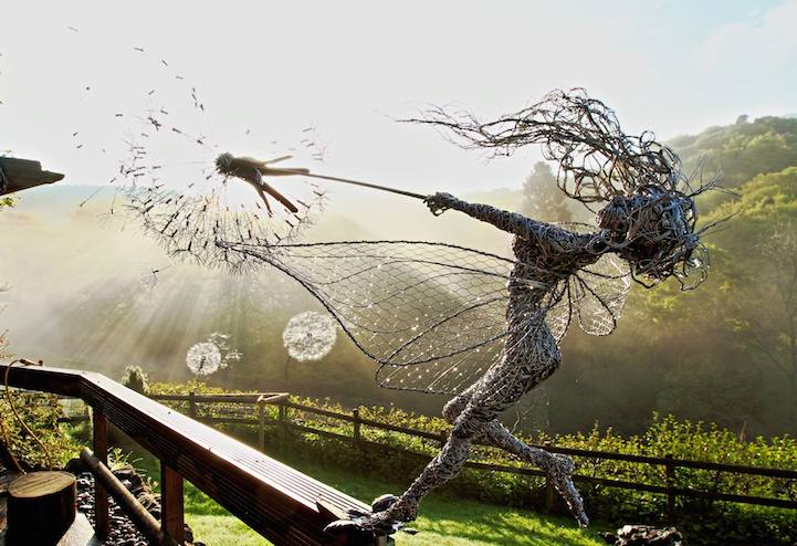 Wire Fairy Sculptures Dance in the Wind Incredibly Dynamic Steel  01