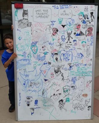 Aspiring cartoonists added their art to our display.