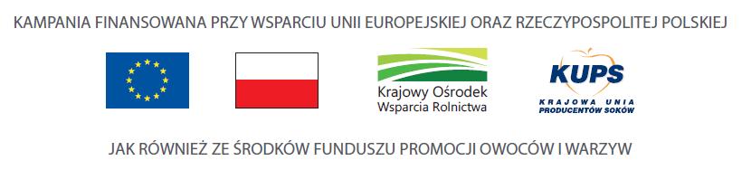 Kampania finansowana przy wsparciu UE, Rzeczpospolitej Polskiej iFunduszu Promocji Produkcji Owoców iWarzyw