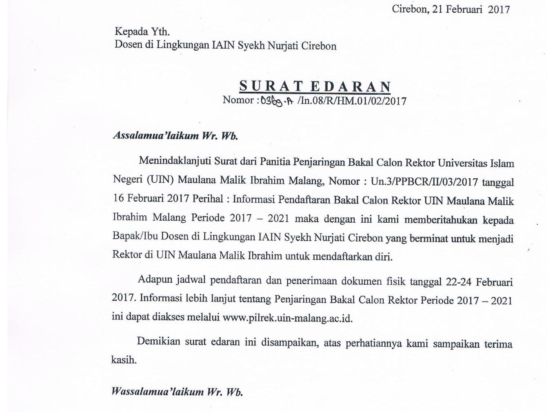 Surat Edaran Pendaftaran Rektor UIN Maulana Malik Ibrahim Malang