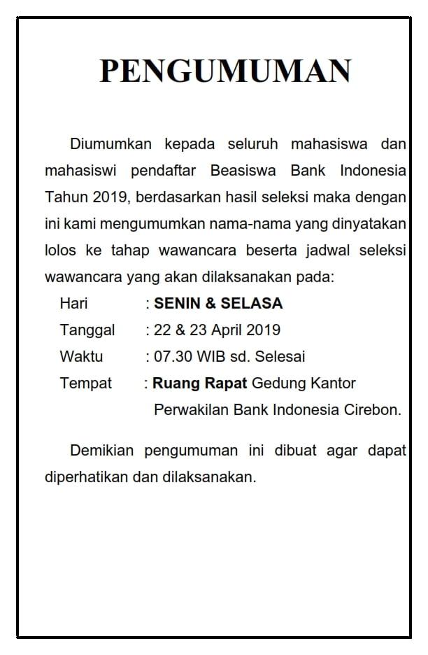 PENGUMUMAN WAWANCAR 2019_001