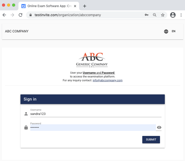 Sign-in screen for organizations to create, edit, conduct tests