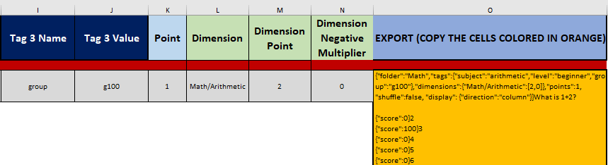 Dimension point and negative multiplier can be added for each question in the import templates