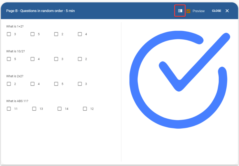 Preview of sidebar along with a group of questions in the online test page