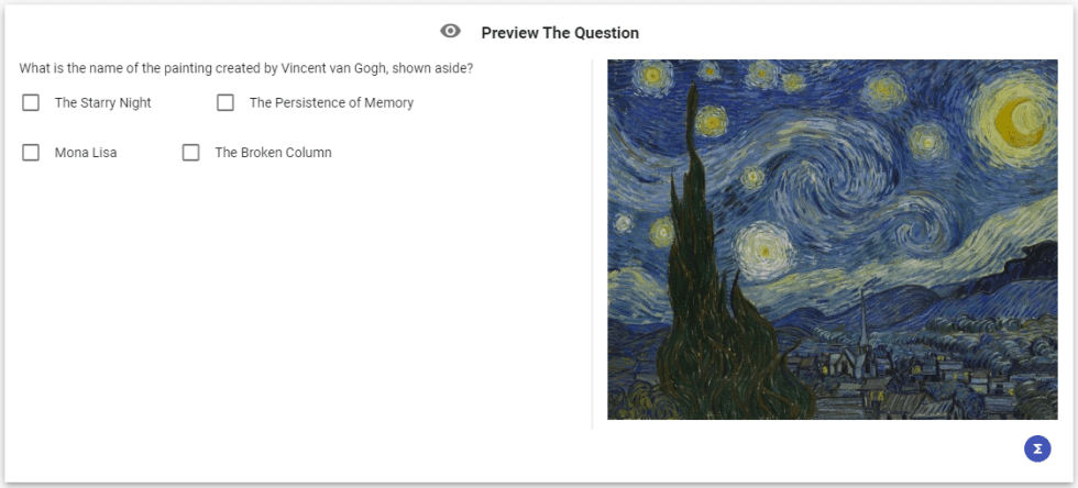 Preview of an example question with a sidebar containing an image related to the question