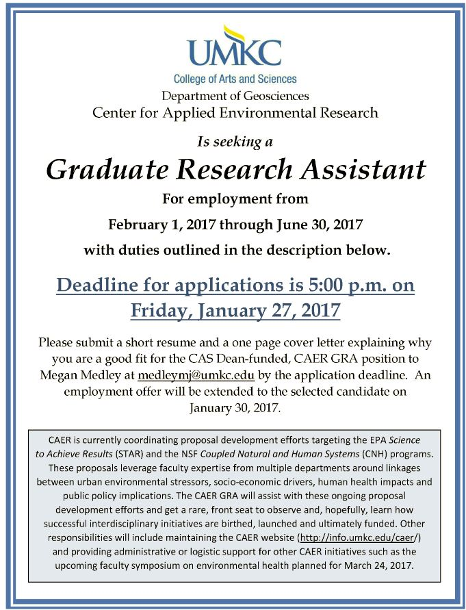 Graduate Research Assistant Position Available | Department ...
