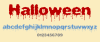 happy halloween written scary font
