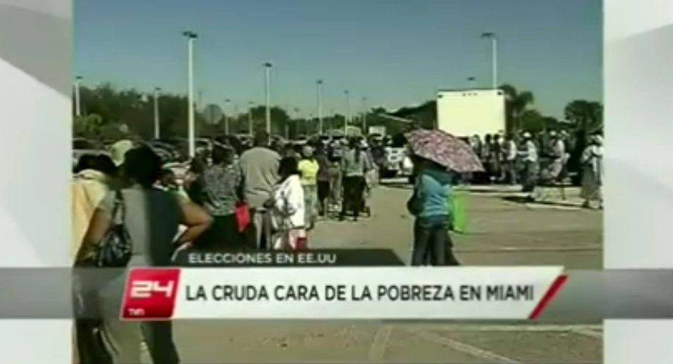 Video: Pobreza y colas por comida de caridad en Miami (la cara oculta del capitalismo)
