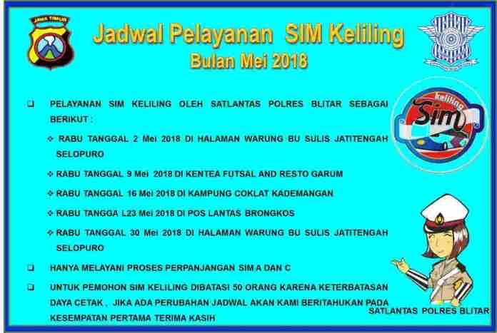 Jadwal SIM Keliling Mei 2018