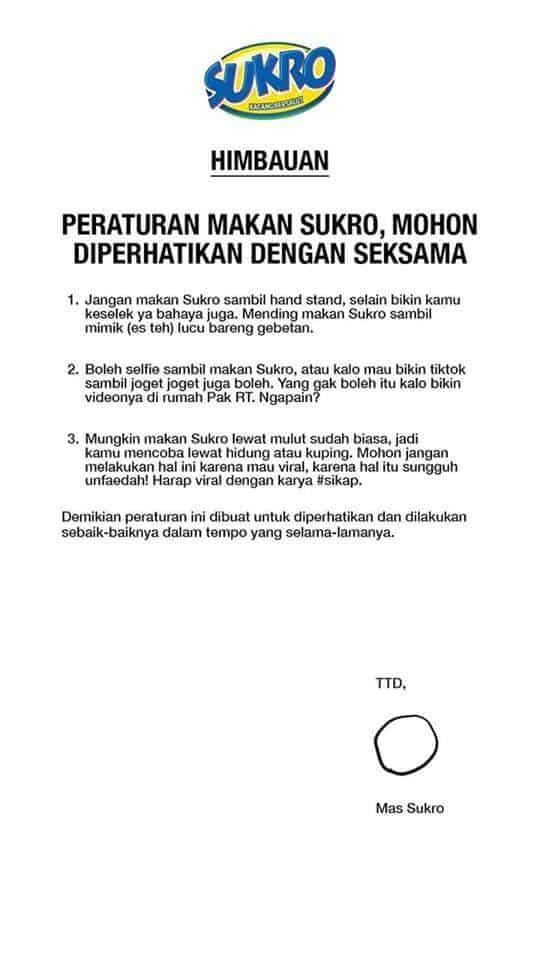 Surat Himbauan dari Sukro