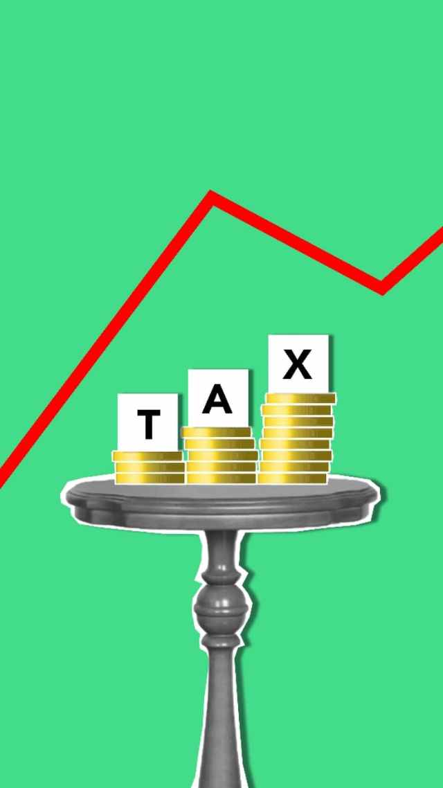 illustration with coins for tax under chart