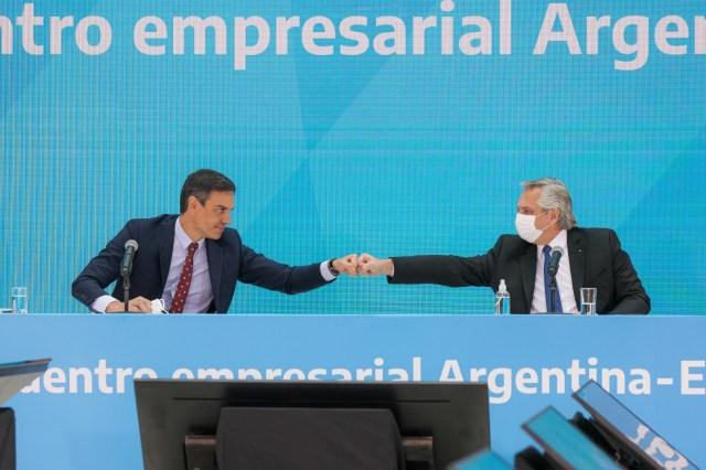 Alberto Fernández y Pedro Sánchez lideraron la firma de acuerdos bilaterales