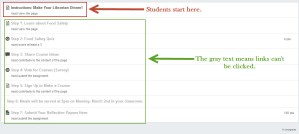 Student view of a module wirh sequenced items.
