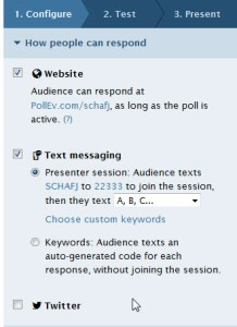 Customized-response settings in Poll Everywhere