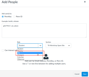 "Example of selecting user role in the ""Add People"" window. In this example, there are two users being added to the site as TAs."