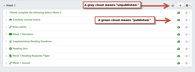 An unpublished module that shows how the cloud icons indicate whether or not a module or content in a module is published.
