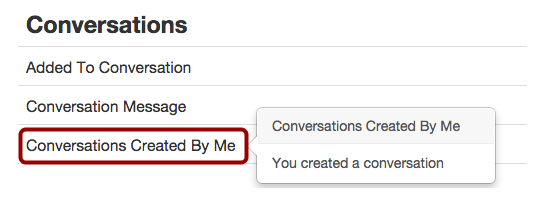 """""""Conversations Created By Me"""" setting under """"Notification Preferences"""""""