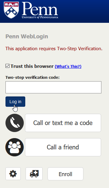 Two-factor login screen with