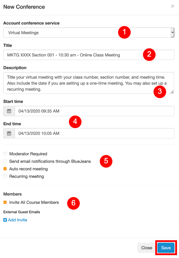 Settings for scheduling a new meeting using the BlueJeans integration in Canvas.
