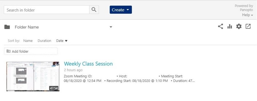 Screenshot showing the details for a Zoom meeting recording uploaded to Class Recordings (Panopto) in Canvas.
