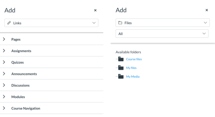 Insert content sidebar tray for links and files