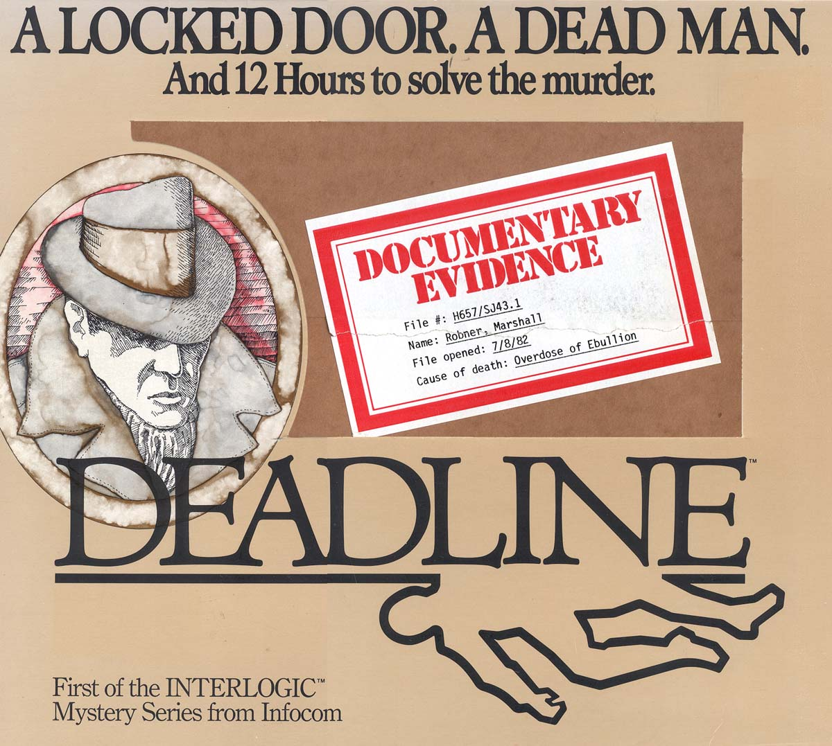 The original box art for Infocom's Deadline