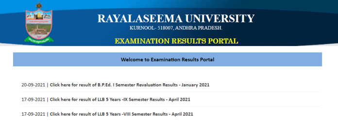 Rayalaseema University B.Ed, LLB, UG & PG Results 2021 for Sem I to VIII at www.ruk.ac.in