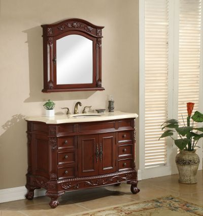 Chelsea 48′ Vanity with Matching Medicine Cabinet – Cherry
