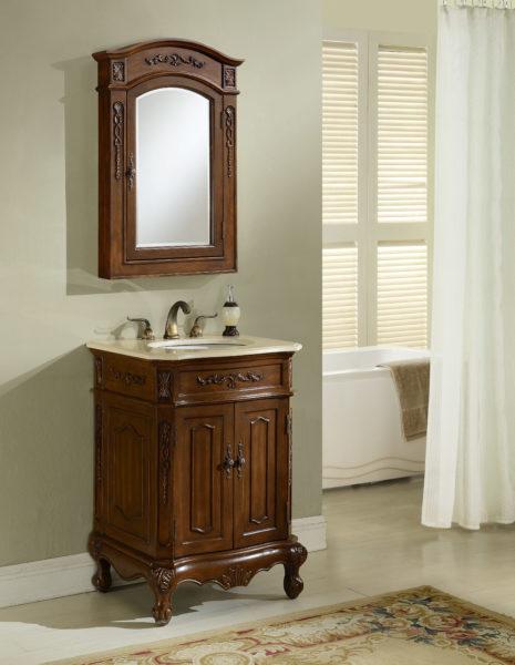 Kensington 24′ Teak Vanity with Matching Medicine Cabinet