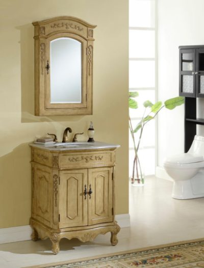 Kensington 27′ Tan Vanity with Matching Medicine Cabinet