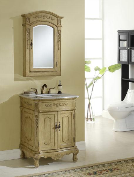Kensington 27′ Tan Vanity with Matching Medicine Cabinet