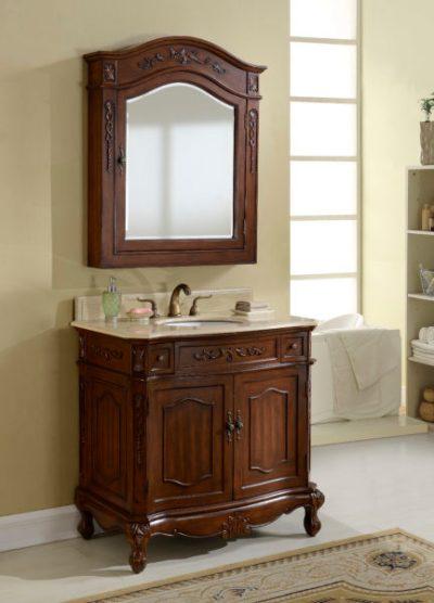 Kensington 36′ Teak Vanity with Matching Medicine Cabinet