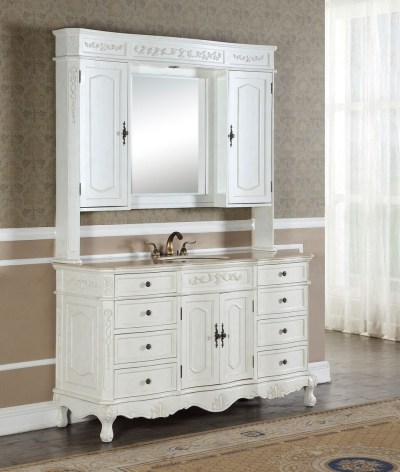 Kensington 60′ Single in Antique White with Matching Medicine Cabinet