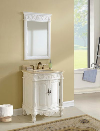 Tuscany 27′ Antique White with Matching Medicine Cabinet