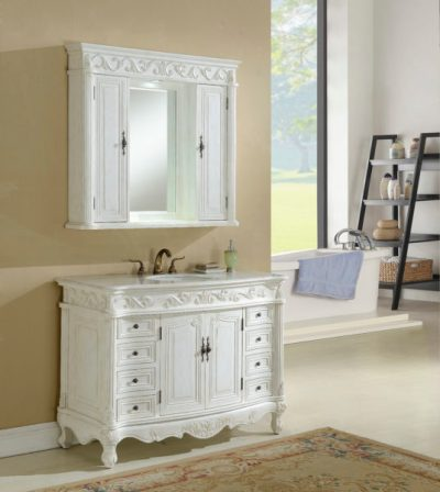 Tuscany 48′ Antique White with Matching Medicine Cabinet