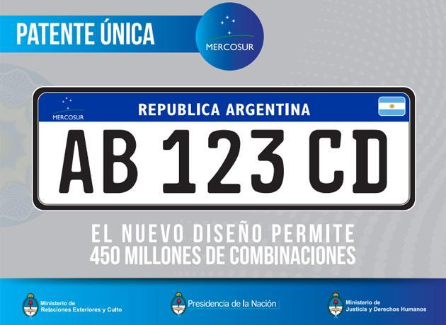 Nueva Patente del Mercosur, permite 400 millones de combinaciones
