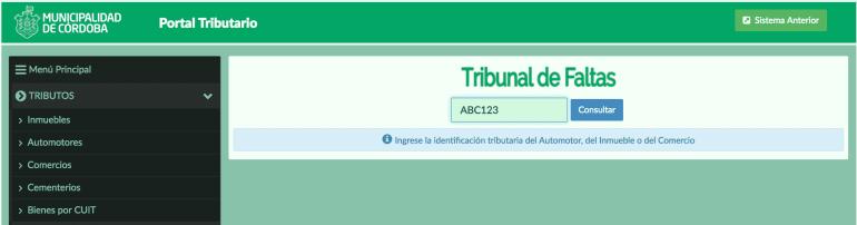 Consulta de multas de la Municipalidad de Córdoba