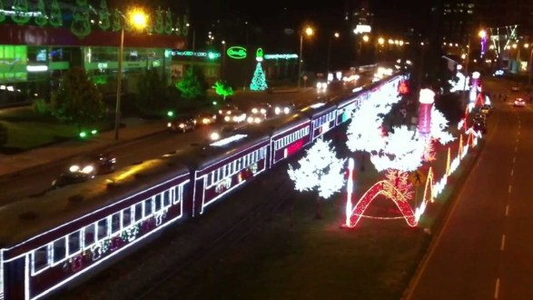 Tren a vapor de Navidad en Bogota – Colombia
